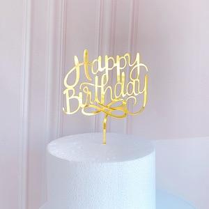Новый Ins Топпер для торта «С Днем Рождения» акриловый золотой торт Топпер для детей день рождения украшения для торта для вечеринки десертные принадлежности акция