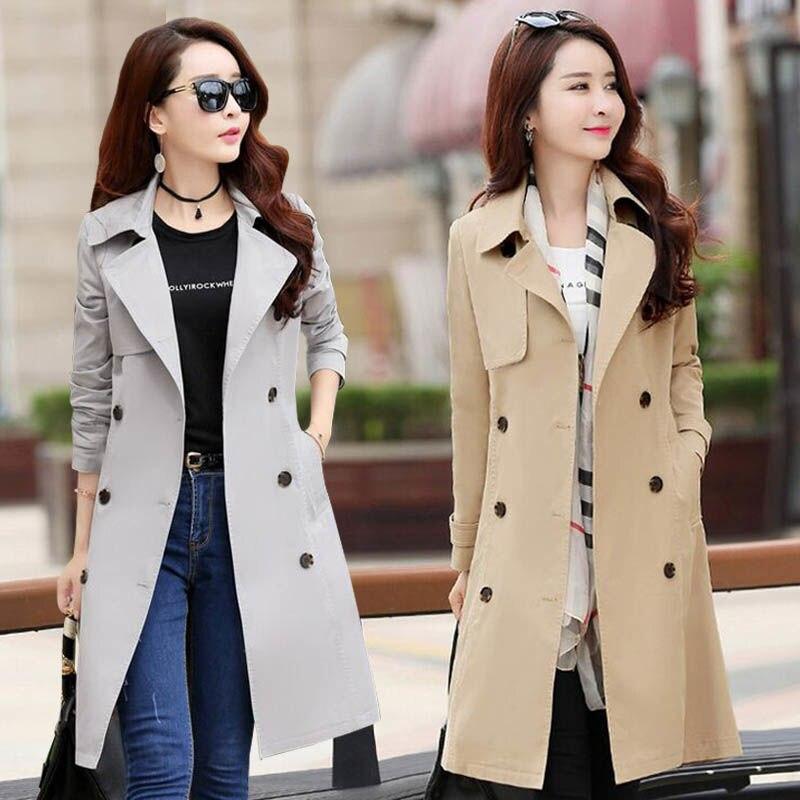 2020 Spring Trench Coat For Women Streetwear Turn-down Collar Double Breasted Coats Female Plus Size 3XL XXXL Sobretudo Feminino
