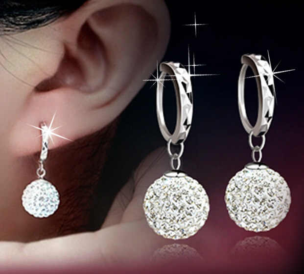 Korean Star Temperament with Allergy-Free Shampoo CrystalBball Earrings Jewelry Wholesale