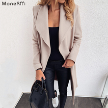 MoneRffi 2020 Fashion Women Wool Blend Overcoat Solid Autumn