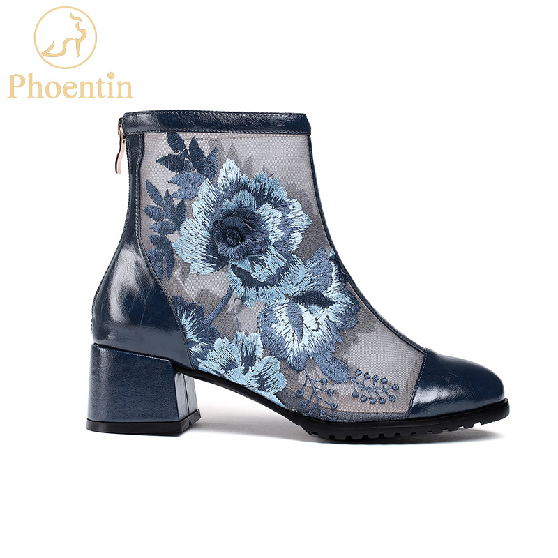 Phoentin nature bottines en cuir bleu fleur broderie été chaussons fermeture éclair maille patchwork chaussures dames grande taille FT733-in Bottines from Chaussures    1