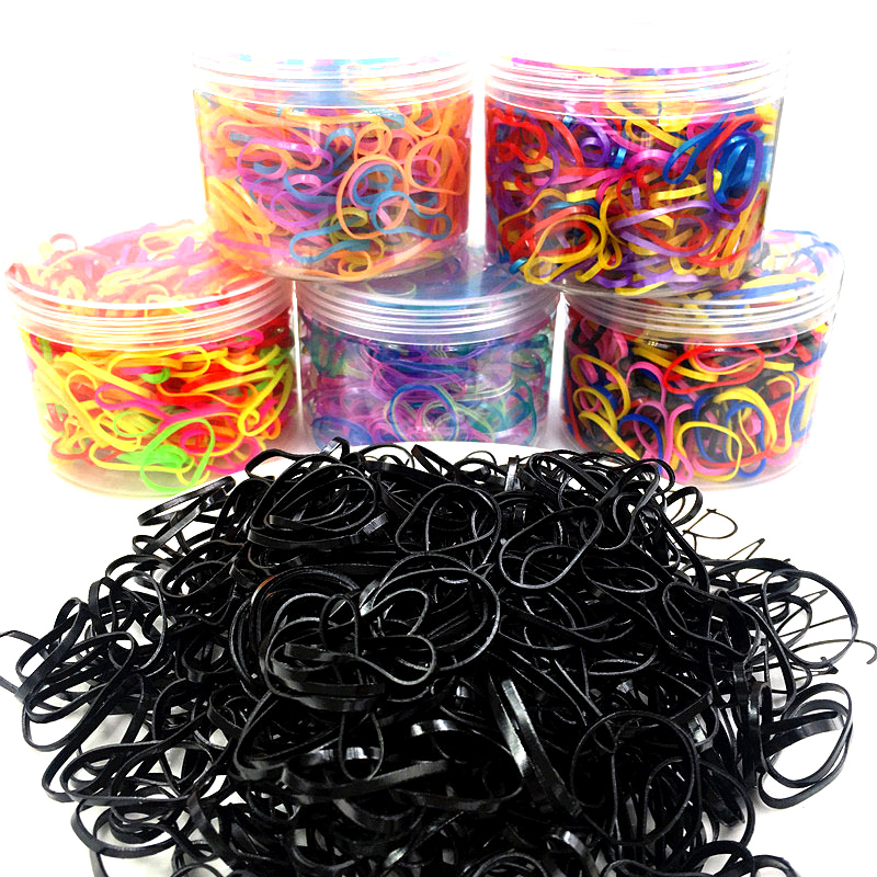 100pcs Small Strong Pull Continuous Disposable Rubber Band Children's Candy Color Black Elastic Does Not Hurt The Hair YN1038