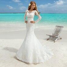 Очаровательное кружевное свадебное платье с юбкой годе 2021