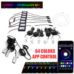 Car Ambient Light Foot Lamp RGB (6 + 4) with 8M Optical Fibre 64colors Led Wireless No Threading App Control