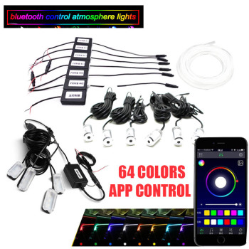Car Ambient Light Foot Lamp RGB (6 + 4) with 8M Optical Fibre 64colors Led Wireless No Threading App Control car led foot lamp ambient light voice control music lamp control lamp12v led 72 smd 5050 4 x 18 smd dc 12v