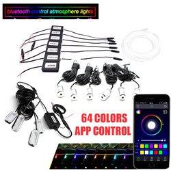 Luz ambiente de coche lámpara de pie RGB (6 + 4) con fibra óptica de 8M 64 colores Led inalámbrico sin roscado Control de la aplicación
