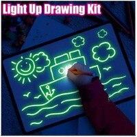 KKMOON المهنية مضيئة لوحة الرسم لوحة مضيئة الكتابة اللوحة مجلس رسم مع الضوء متعة وتطوير لعبة للأطفال هدية-في مجموعات أدوات يدوية من أدوات على