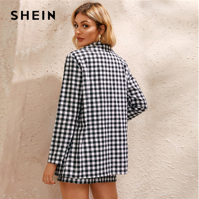 SHEIN Black And White Gingham Print Single Button Front Blazer And Skirt Preppy Set Women Autumn Long Sleeve Casual Outfits 2
