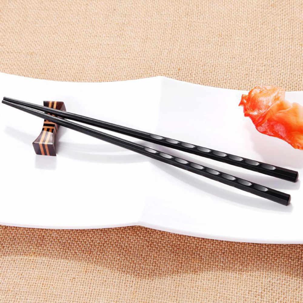 1 par japonês pauzinhos antiderrapante durável liga quente de alta qualidade portátil sushi chop sticks conjunto chinês chopstick aluno presente