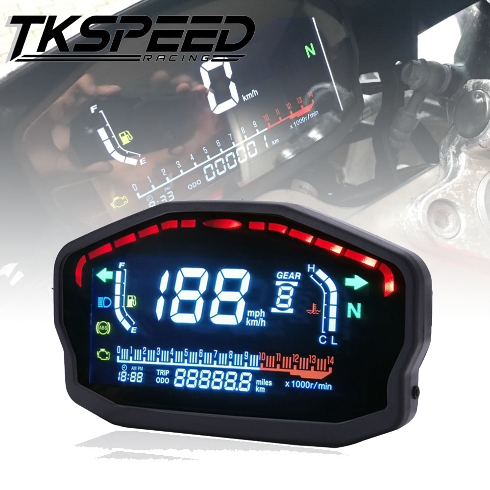 Per Il 1,2, 4 Cilindri Moto Universale Led Lcd Tachimetro Digitale Retroilluminazione Contachilometri per Bmw Honda Ducati Kawasaki Yamaha
