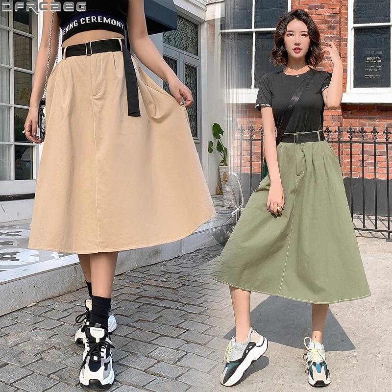 New Streetwear Harajuku Long Skirts For Women Elegant Elastic High Waist Maxi Skirt Black Khaki Army Green With Belt Cargo Skirt