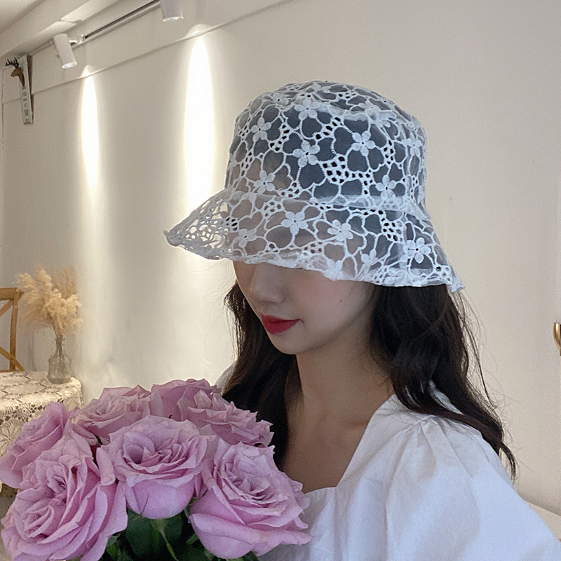 202003-JJ007  New Spring  Fairy Style  Lace Flower  Leisure Lady  Bucket Cap  Women  Fishermen Hat