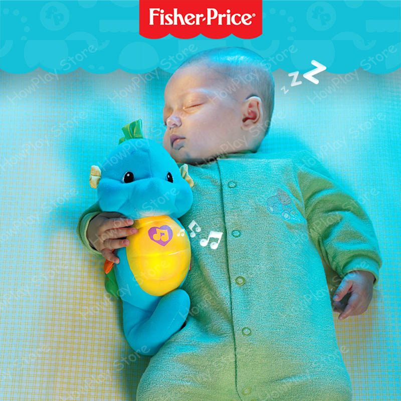 Fisher-Price Baby Toys 0-12months Baby Musical Kids Toys Glow Seahorse Appease Educational Toy Hippocampus Plush Peluche Doll