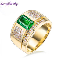 2020 Rings For Men Luxurious Natural Colombia Emerald Women Lovers' Ring Real 14Kt Yellow Gold Wedding Genuine Diamonds Jewelry