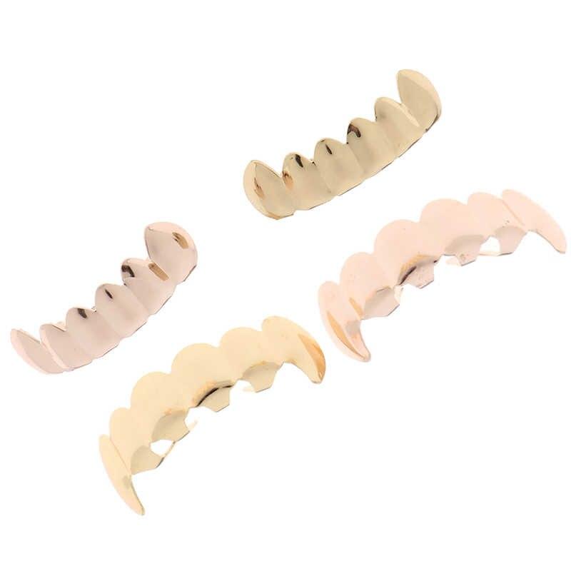 Хип-хоп золотые радужные зубы Grillz Топ и низ красочные грили стоматологические зубы вампира Хэллоуин