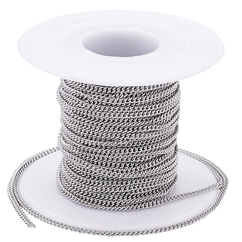 10m/roll Unwelded 304 Stainless Steel Curb Chains For Jewelry Making DIY Bracelet Necklace Accessories Findings 2.4x1.9x0.5mm