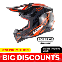 купить SOMAN Motorcycle Helmet Off-road Full Face Helmet Motocross Mens Adventure Downhill DH Racing Casco Moto Helmet ECE Approved дешево