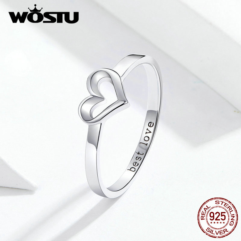 WOSTU 2019 New Arrival 100% Real 925 Sterling Silver Shape Of Love Simple Design Silver Rings For Women Fashion Gift FIR578