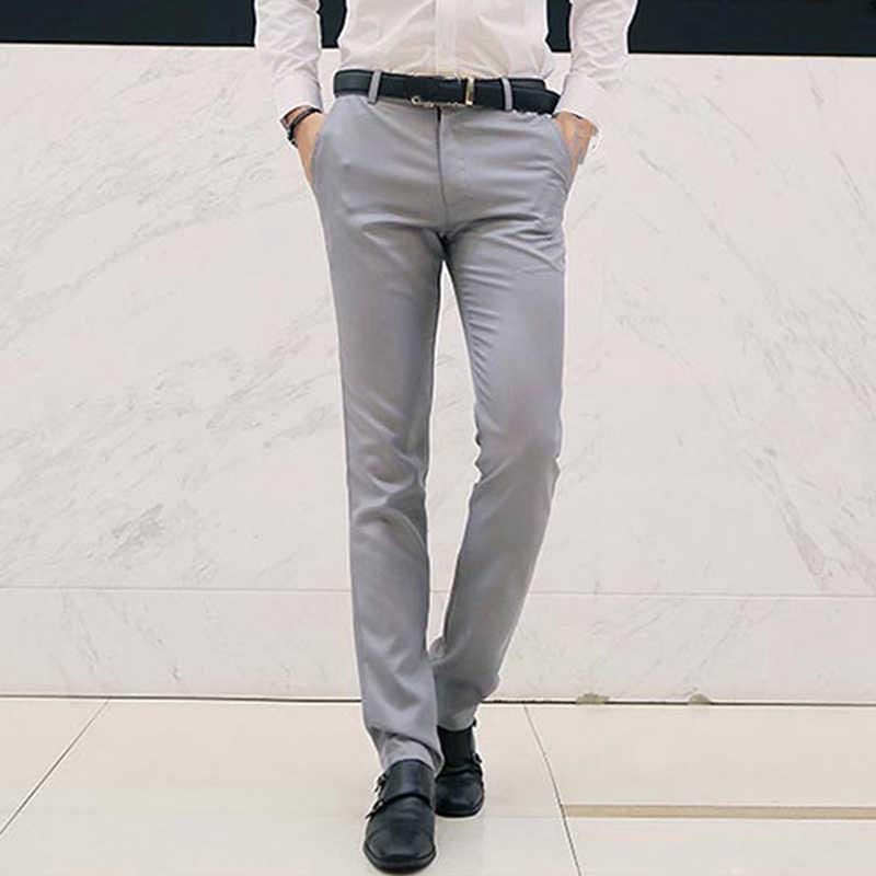 Pantalones De Vestir Para Hombre Pantalones De Negocios Para Hombre 2020 Pantalones Rectos De Moda Para Hombre Pantalones Clasicos Inteligentes De Ajuste Solido Pantalones De Traje Aliexpress