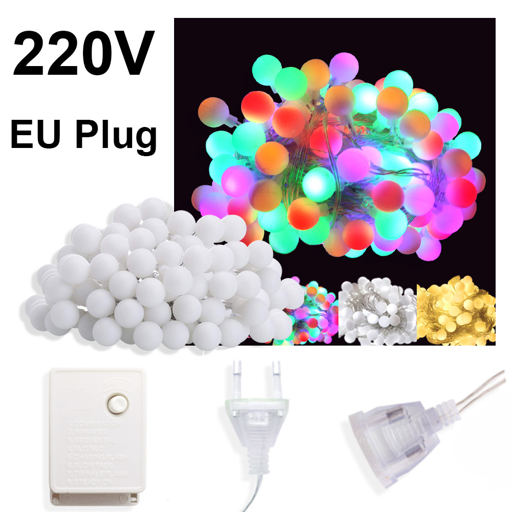 10M 100 LED Garland Christmas Lights Decoration Fairy Lights Outdoor LED Ball String Lights Wedding Home Chain Lamp 220V EU Plug