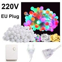 купить 10M 100 LED Garland Christmas Lights Decoration Fairy Lights Outdoor LED Ball String Lights Wedding Home Chain Lamp 220V EU Plug дешево