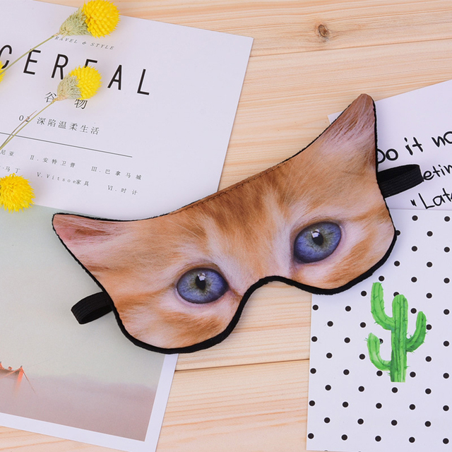 1 PC Cute Animal Shade Relax Nap Eye Cover Cartoon 3D Animal Dog Cat Sleep Eyeshade Eye Mask Eyepatch Blindfold for Travel 3
