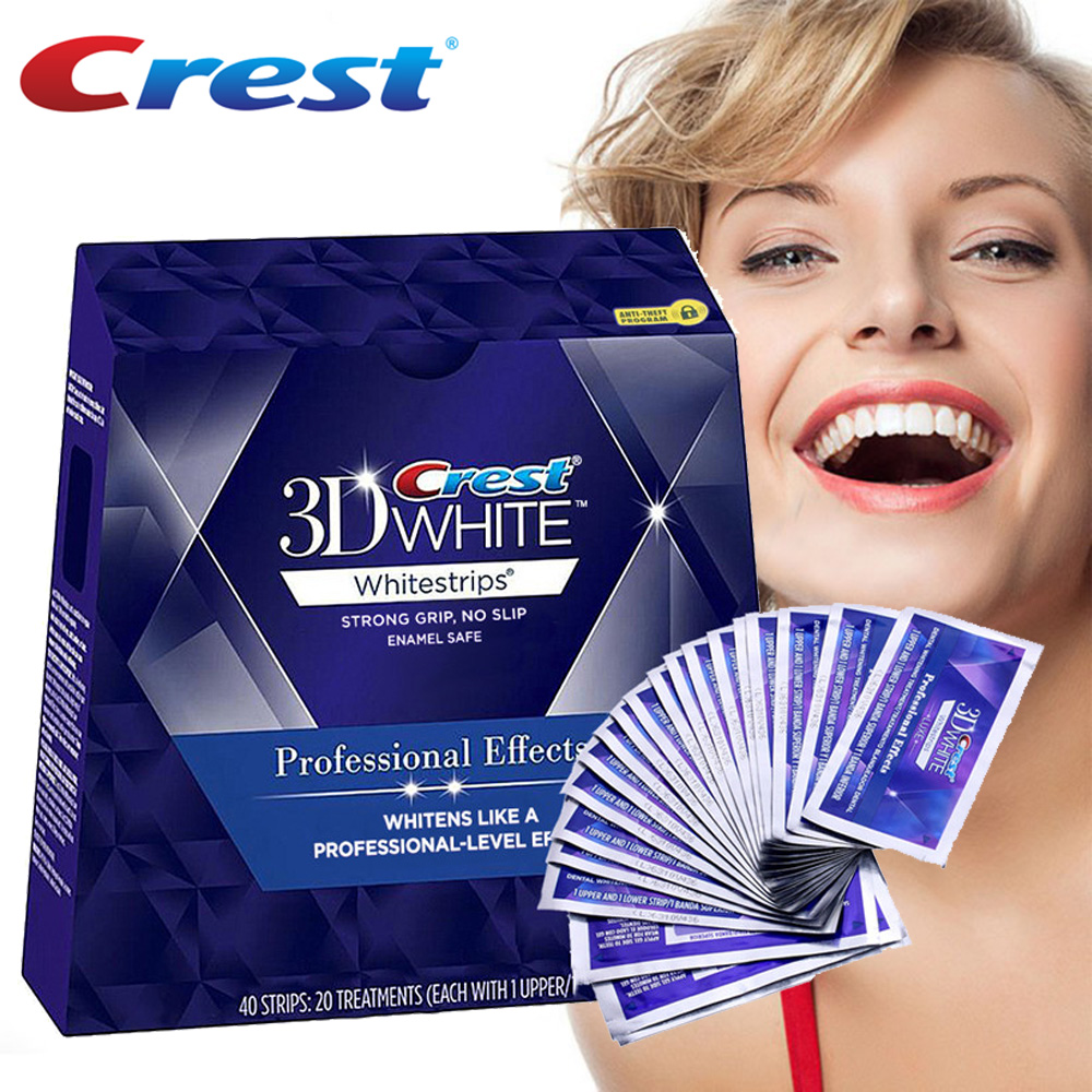 Crest 3D Whitestrips Professional Effects Tooth Bleaching Kit Oral Hygiene Teeth Whitening Strips 20 Pouch/Box or 10 Pouch/NoBox