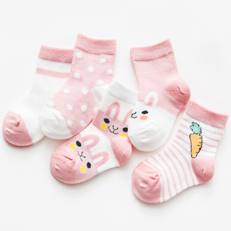 5Pairs/Lot Cartoon Rabbit Children Kids Sock Breathable Cotton  For Boys Summer Mesh Baby Girls Socks