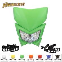 Motorcycle PowerMotor Headlight Headlamp Motorbike Head Lamp Mask Refires 35W 12V 4WD For KLX450 250 Dirt Bikes Motocross HL105