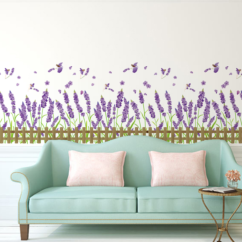 Home Garden Flower Baseboard Sticker Purple Color Lavender Plant PVC Material Wall Decals for Living Room Bedroom Decoration in Wall Stickers from Home Garden