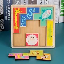 Sliding Piece puzzle Tetris Shape Jigsaw,Childrens Educational toys wooden puzzles, Classic Montessori Kids Floor Games