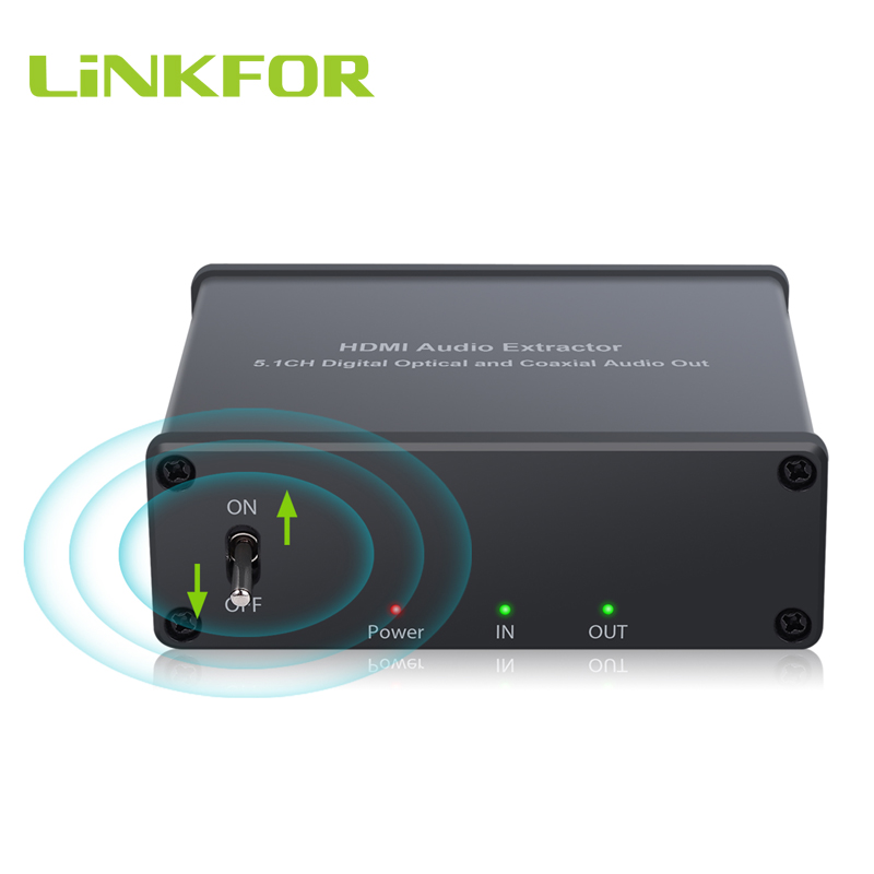 LiNKFOR HDMI To HDMI With Optical/Spdif Coaxial Audio Extractor Converter Audio Splitter Adapter  Support 4K 3D HDMI 1.4b