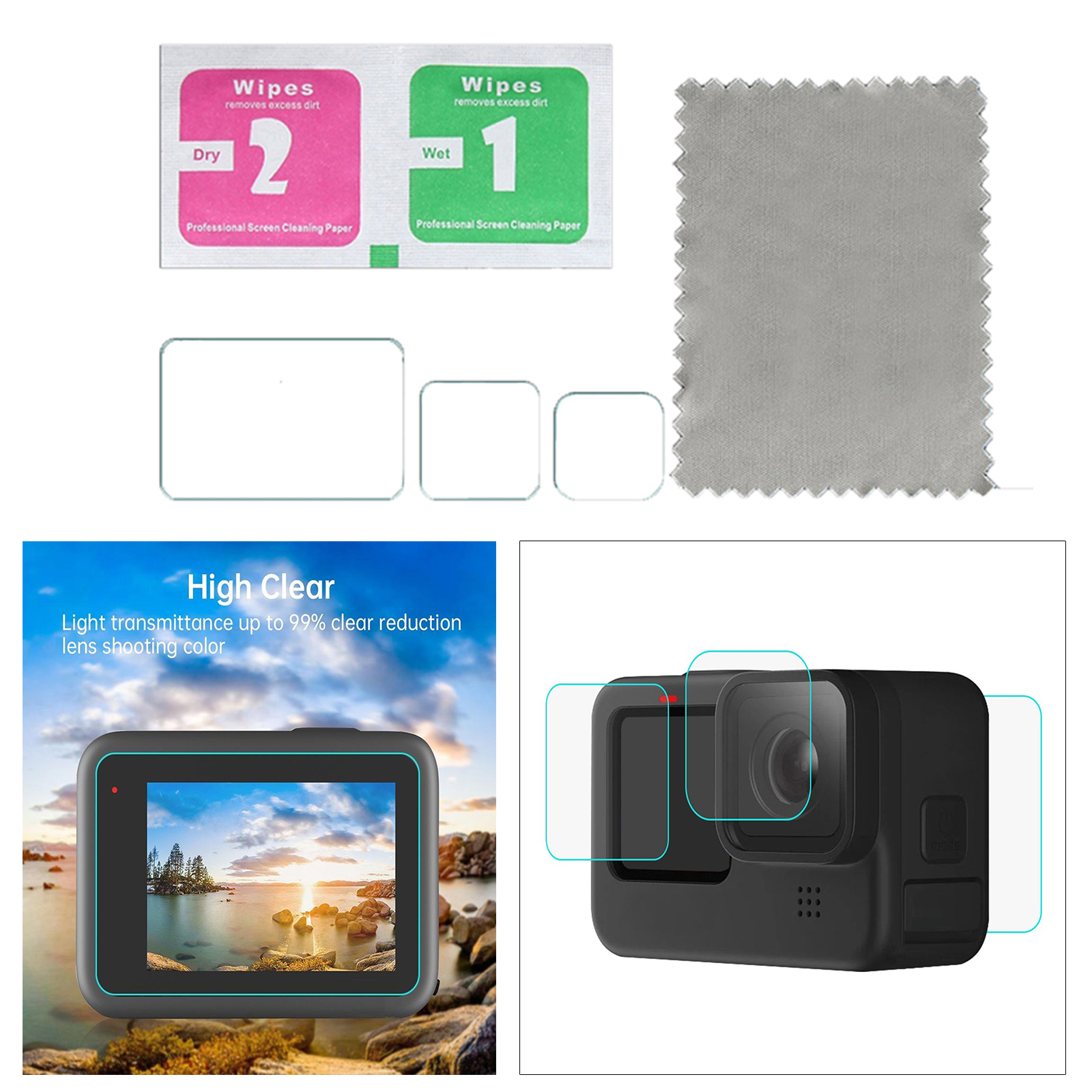 Screen-Protector Tempered-Glass-Film Camera-Lens W/lcd-Display for Gopro 9 Black
