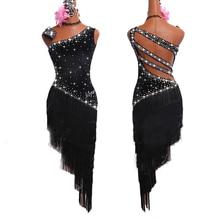 Платья для латинских танцев для женщин, черная бахрома, блестящие стразы, открытая спина, танго, сальса, Бальные соревнования, костюмы для латинских танцев BL1279
