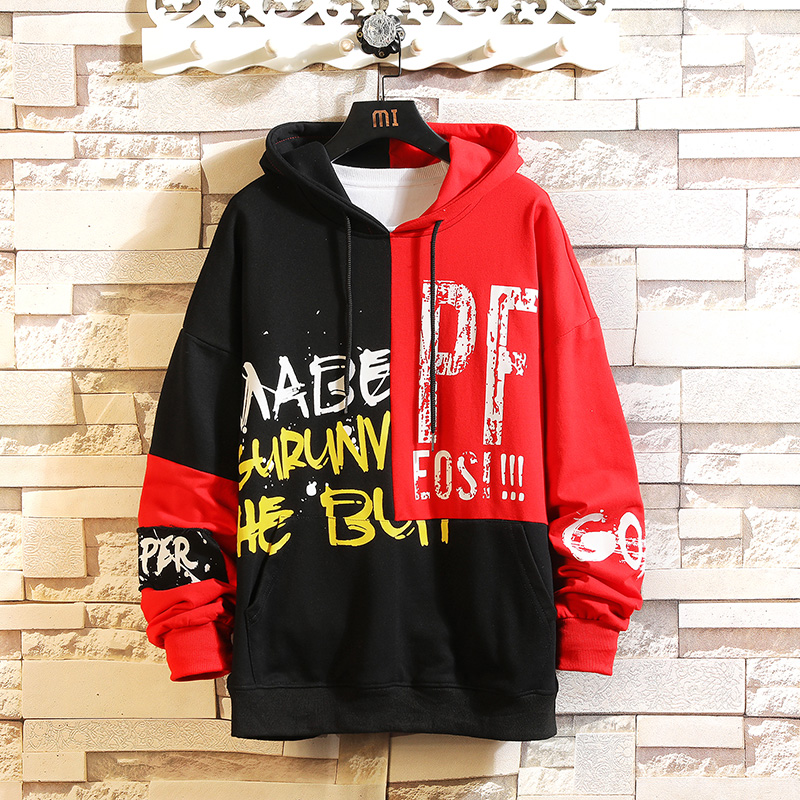 Japan Style Casual O-Neck 2020 Spring Autumn Print Hoodie Sweatshirt Men'S Thick Fleece Style Hip Hop High Streetwear Clothes