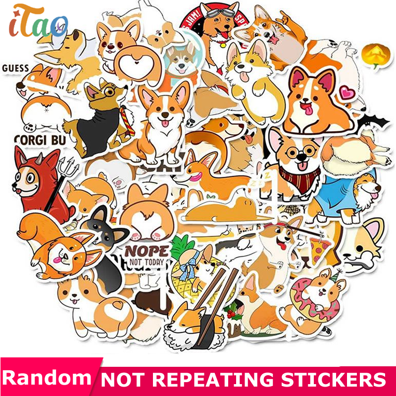 10/20/30/40/50PCS Animals Dogs Corgis Stickers Waterproof PVC Skateboard Laptop Luggage Snowboard Guitar Cool Sticker Kids Toys