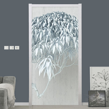 Modern Nordic Style Creative Tree Door Sticker 3D Stereo Leaves Mural PVC Waterproof Kitchen Bathroom Poster Home Decor