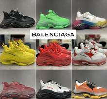Balenciaca Triple S Clear Sole Black shoes Women Dad Clear Sole White Trainers Fashion Neon Green Sneakers B56(China)