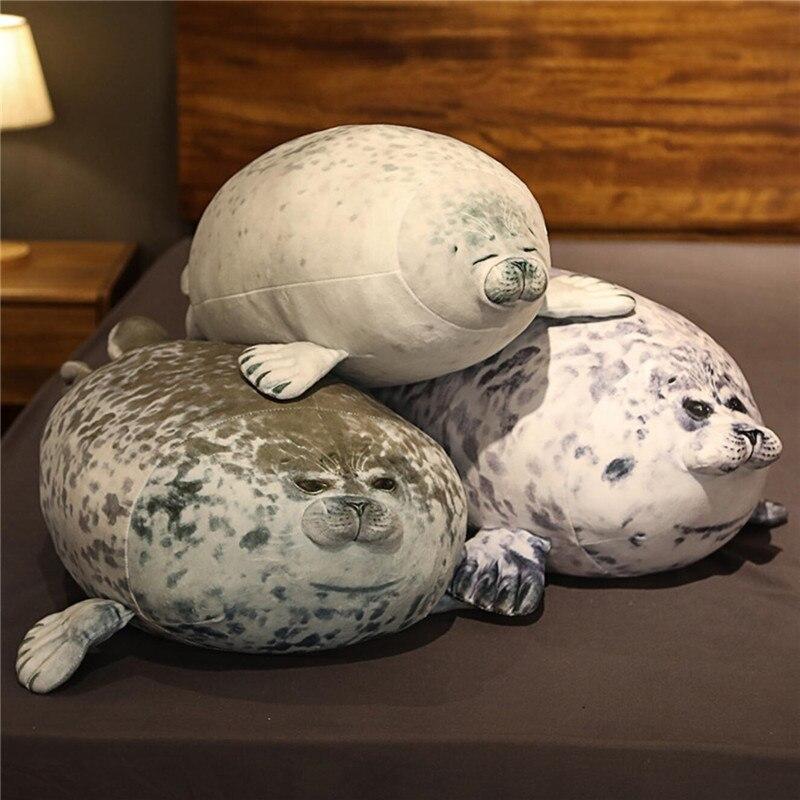 Плюшевая игрушка морской лев 30 см-80 см, милая мягкая кукла, Подушка для сна с имитацией печати, детские игрушки, подарок на день рождения и Ро...