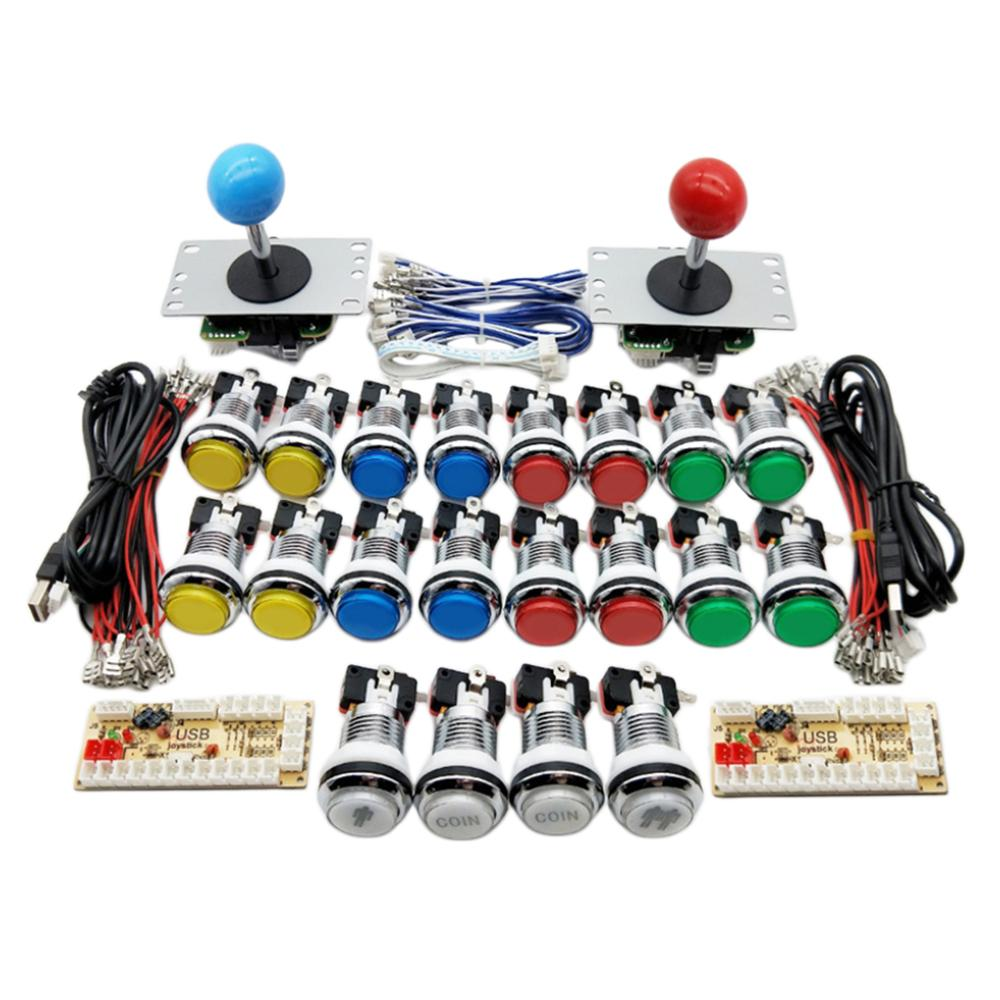 American Style Arcade Cabinet Diy Kit For 5v Led Chrome Push Button Sanwa Joystick 2 Player Push Coin Button Zero Delay for Pc(China)