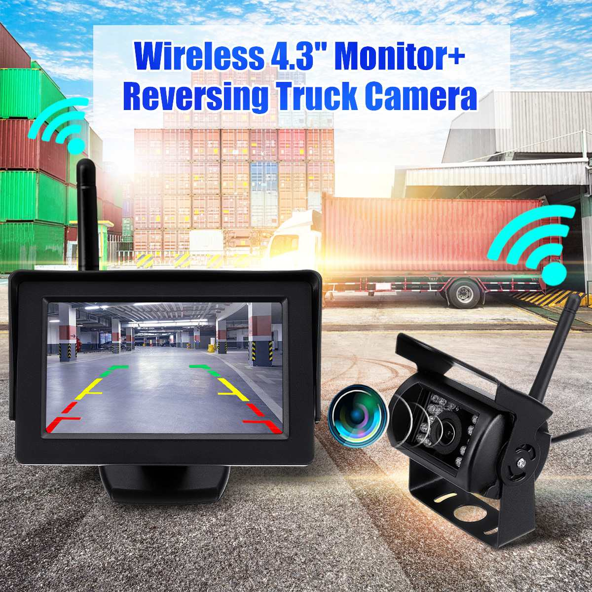 2.4G Car Vehicle HD Wireless Night Vision Rear View Backup Camera System With 4.3 Inch Monitor For 12-24V Truck Trailer
