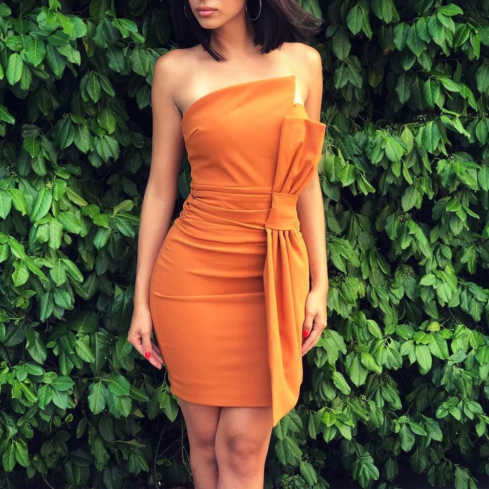 Short Mini Cocktail Dresses Straight Style Orange Color Fashion Party Dress With Bow On Waist Homecoming Gown YSAN458