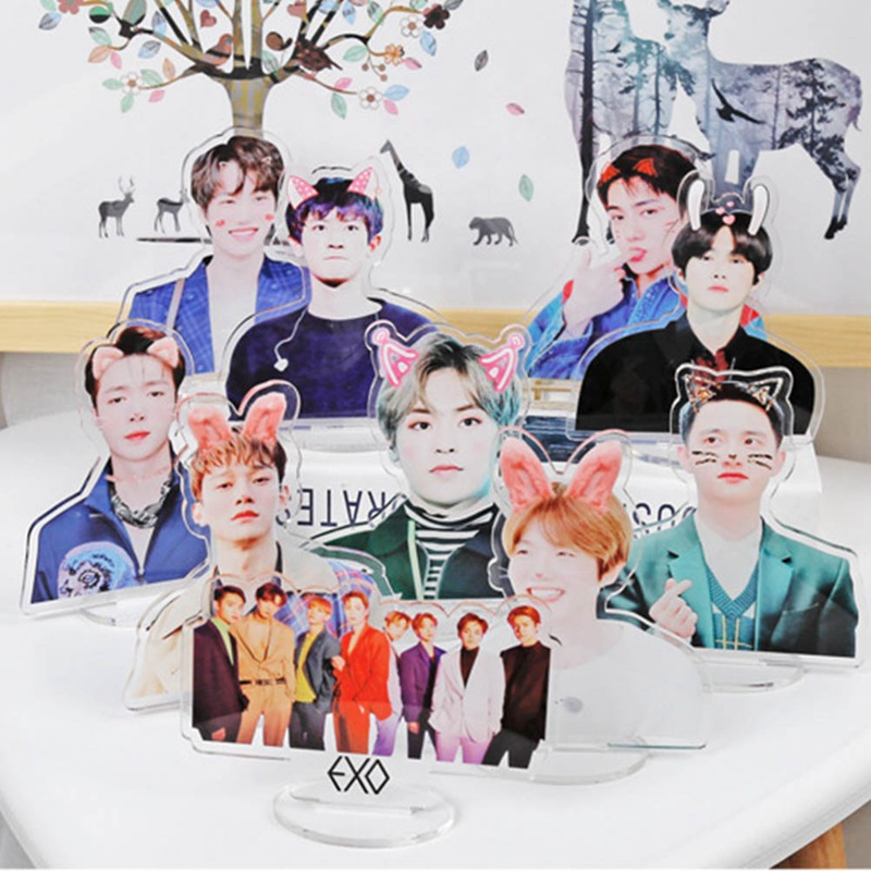 Kpop EXO Members Kawaii Standing Action Figure Doll Acrylic Standee Action Table Decor Stationery Set