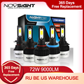 NIGHTEYE супер яркие Автомобильные фары H7 светодиодный H4 светодиодный H8/H9/H11 HB3/9005 HB4/9006 Авто лампа 72 Вт 9000LM Автомобильные фары 6500K