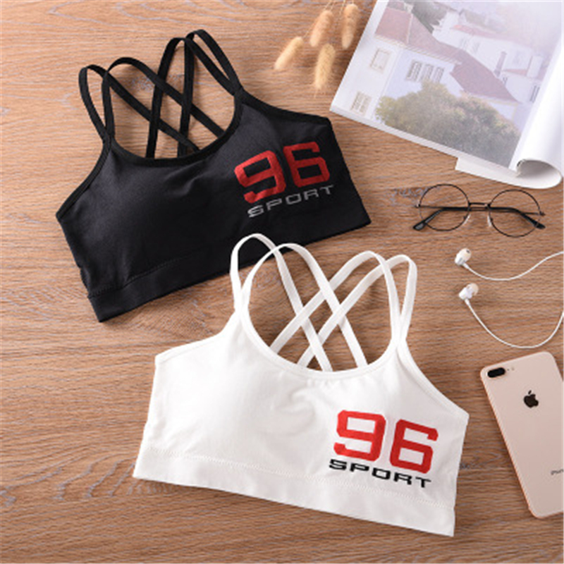 Women Sports Bra Letters Free Size Beauty Back Yoga Top Workout Active Wear Black White Girls Top Sujetadores Deportivos Mujer