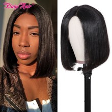 Klaiyi Hair Straight Bob Wig 8-12 Inch Brazilian Remy Hair Pre Plucked Lace Wig 4x4 Lace Closure Wigs For Women Human Hair 150%