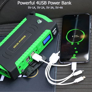 Image 4 - GKFLY High Capacity 16000mAh Starting Device Booster 12V Portable Car Jump Starter Cables Power Bank Car Starter Battery Charger