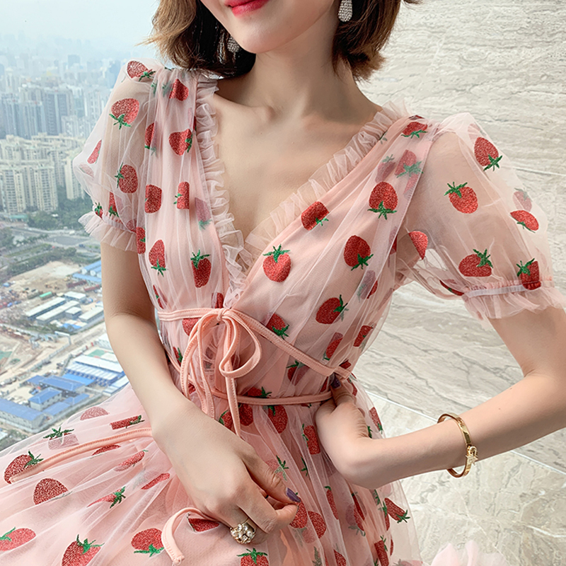 Runway Rhinestone Diamonds Strawberry Pink Mesh Maxi Dress Women Short Puff Sleeve Sexy V-neck Lace-up Bow Tunic Lolita Dress (18)