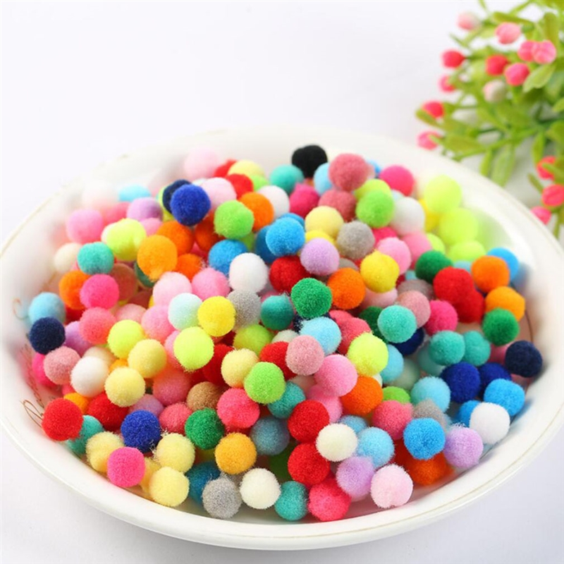 200PCS/set 10mm Pompoms Pom-Pom Craft Material  Handmade Material Plush Ball Doll Accessories Eight Color