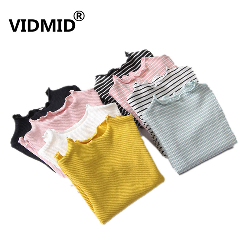 VIDMID Baby Girls T-shirts Long Sleeve Striped Tops Soft Cotton Kids T-Shirt Tees 3-7 Years Children Warm Clothes Tops 4116 03